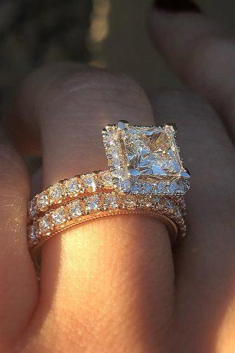 princess cut engagement rings wedding set rose gold pave band halo