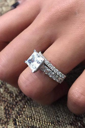 princess cut engagement rings wedding set solitaire diamond white gold