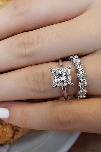 princess cut engagement rings wedding set white gold solitaire simple
