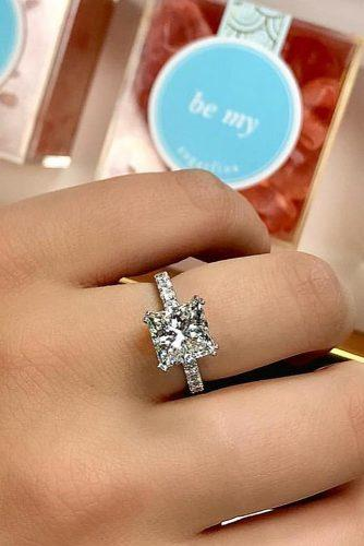princess cut engagement rings white gold pave band solitaire diamond simple