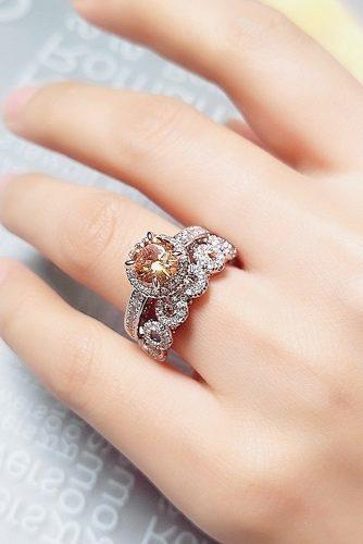 round engagement rings colored gemstone wedding set halo