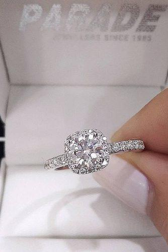 round engagement rings diamond halo pave band white gold
