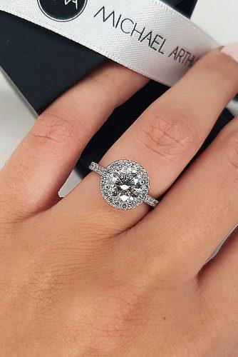 round engagement rings halo pave band diamond