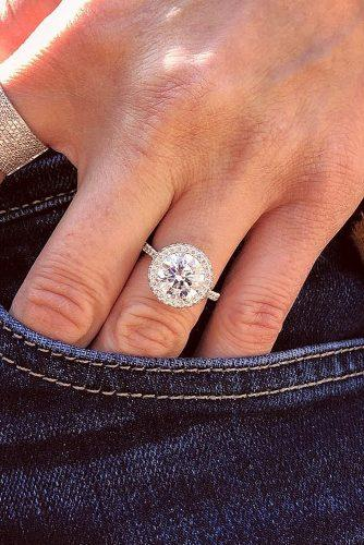 round engagement rings halo pave band