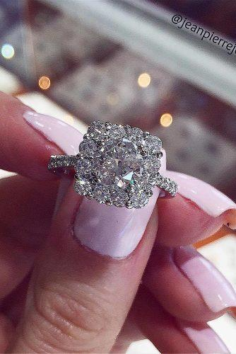 round engagement rings halo white gold diamond