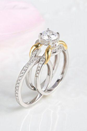 round engagement rings modern set white gold
