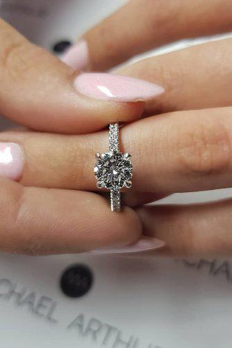 round engagement rings pave band solitaire simple