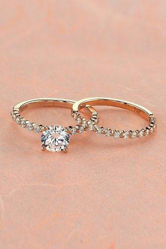 round engagement rings rose gold set pave band classic