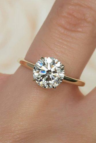 round engagement rings solitaire simple diamond rose gold