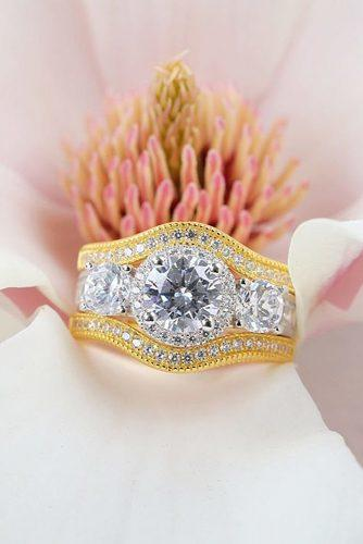 round engagement rings three stones diamond yellow gold