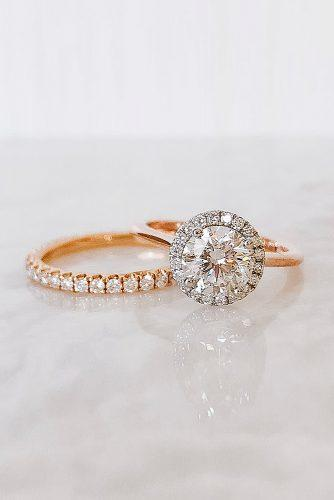 round engagement rings wedding set rose gold halo pave band