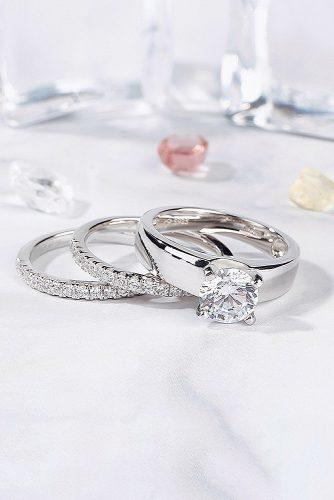 round engagement rings white gold solitaire wedding set