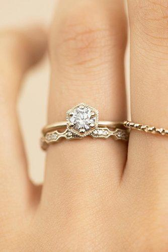 round engagement rings yellow gold set modern