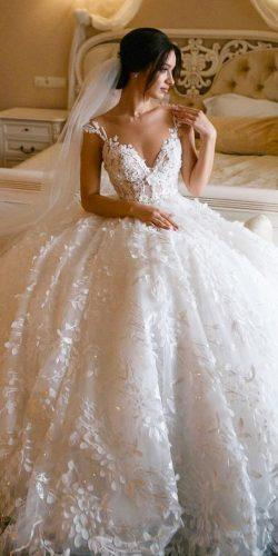 ball gown wedding dresses illusion neckline lace top floral appliques millanova