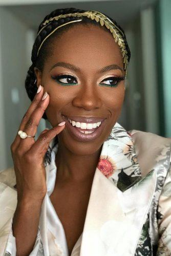 black bride makeup ideas elegant beige with green accent and long lashes natural eyes mua_ttt_tia