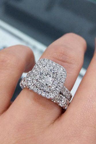 bridal sets double halo diamond pave band