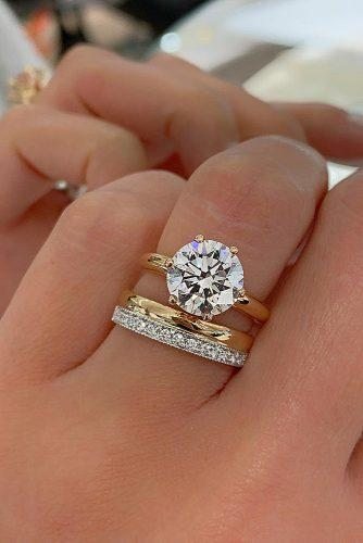 bridal sets simple classic round cut gold diamond