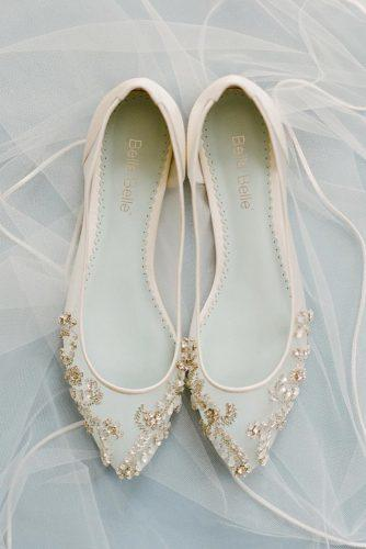 comfortable wedding shoes flat jeweled nude bellabelleshoes