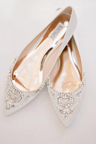 comfortable wedding shoes flat with stones badgleymischka