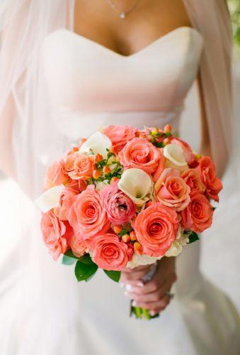 coral wedding decorations classic bouquet Jeannine Marie Photography