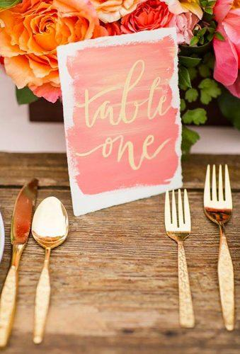 coral wedding decorations coral table number Katelyn James Photography