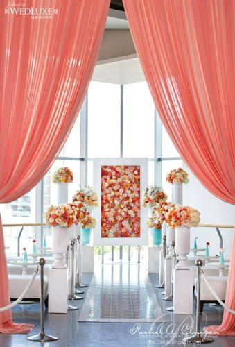 coral wedding decorations coral wedding aisle Rachel A. Clingen