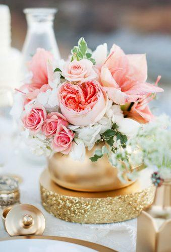 coral wedding decorations flower in gold jar KRISTINA CURTIS