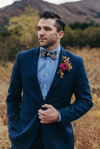 groom suits navy with bow tie boutonniere navy kristianirey
