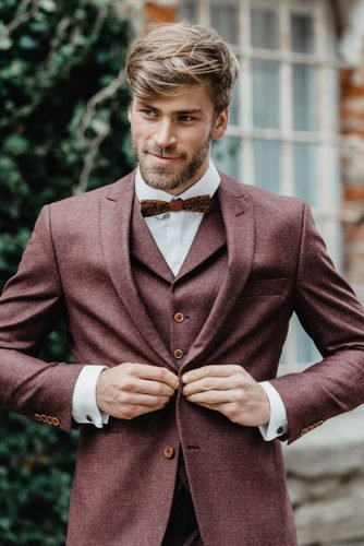 groom suits tweed with jacket bow tie fof fall ladonnahochzeitsatelier