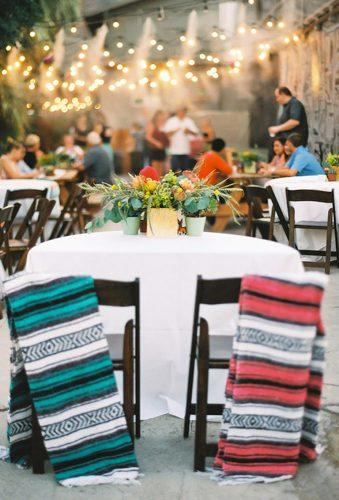 mexican wedding decor chairs with plaid Erin J Saldana Photography