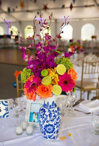 mexican wedding decor flower-centerpiece Jennifer Ballard Photography