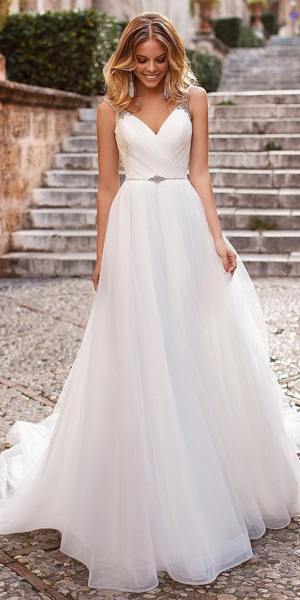 modest wedding dresses a line v neckline with simple navibluebridal
