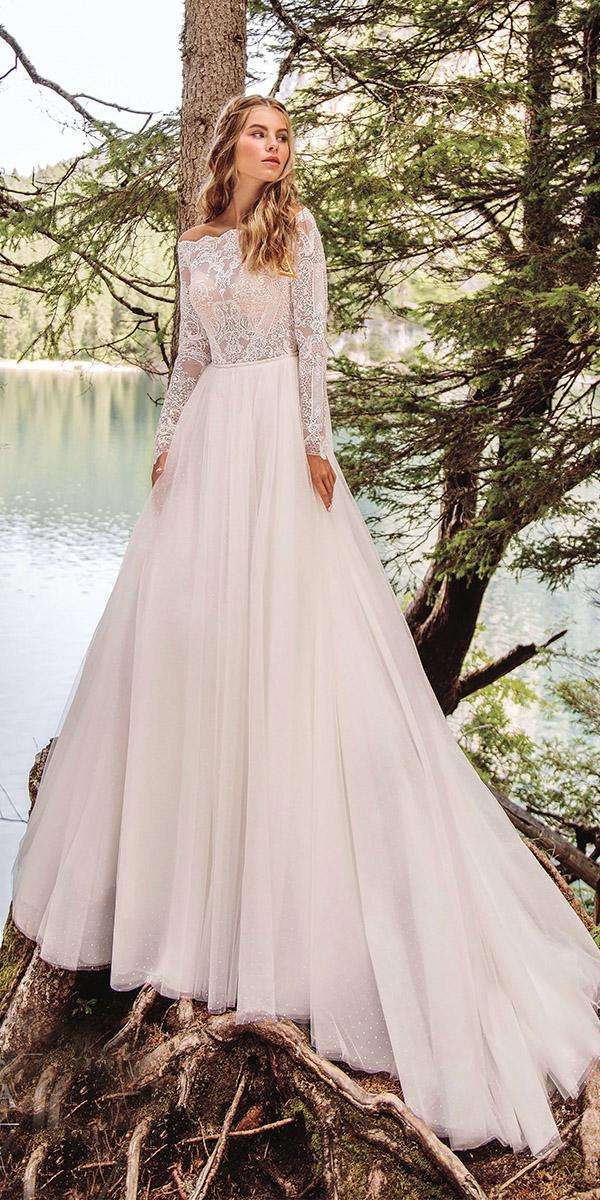 modest wedding dresses a line with long sleeves delicate lace top armonia