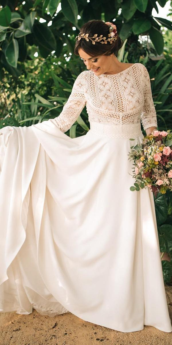 modest wedding dresses a line with long sleeves lace top rustic rubenhernandezcostura