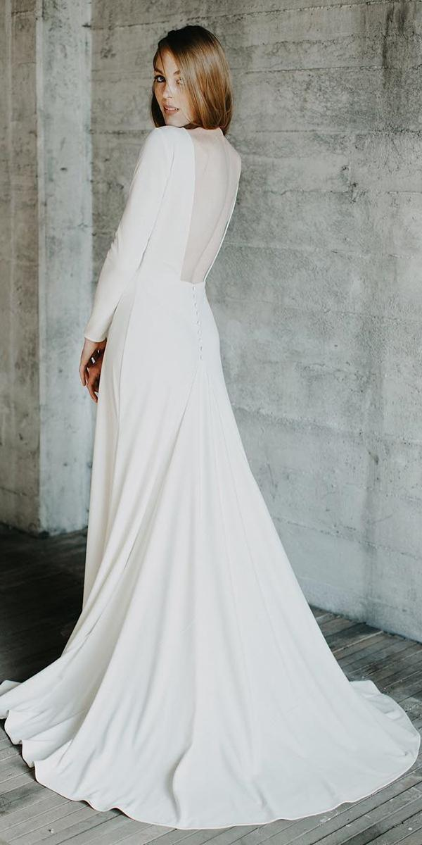 modest wedding dresses a line with long sleeves simple elegant elizabeth dye