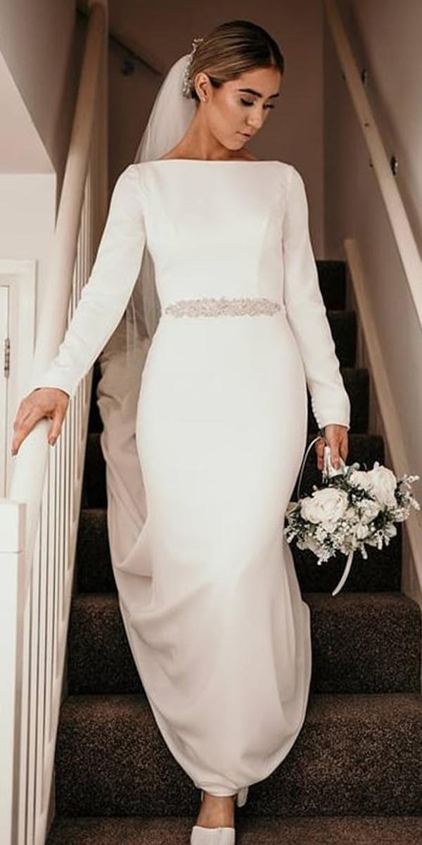 modest wedding dresses sheath with long sleeves simple elegant beaded belt mikaella bridal
