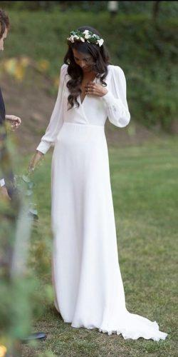 modest wedding dresses simple a line with long sleeves calista one