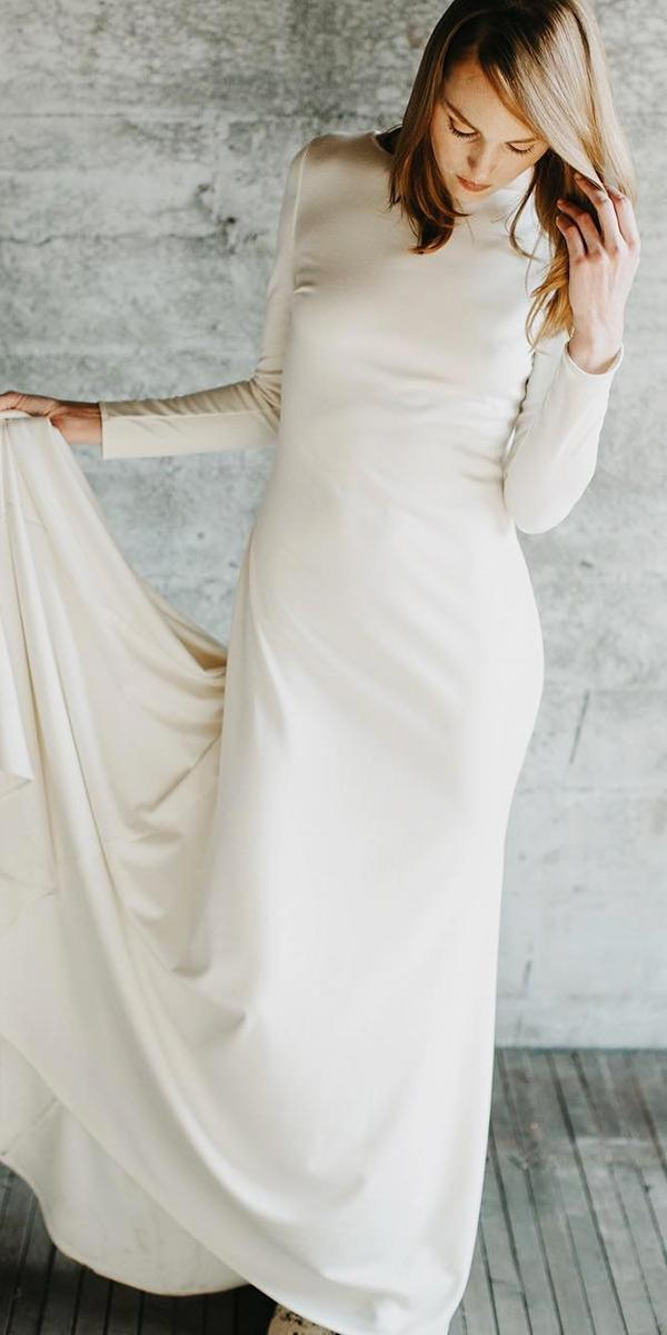 modest wedding dresses simple sheath with long sleeves elizabethdye