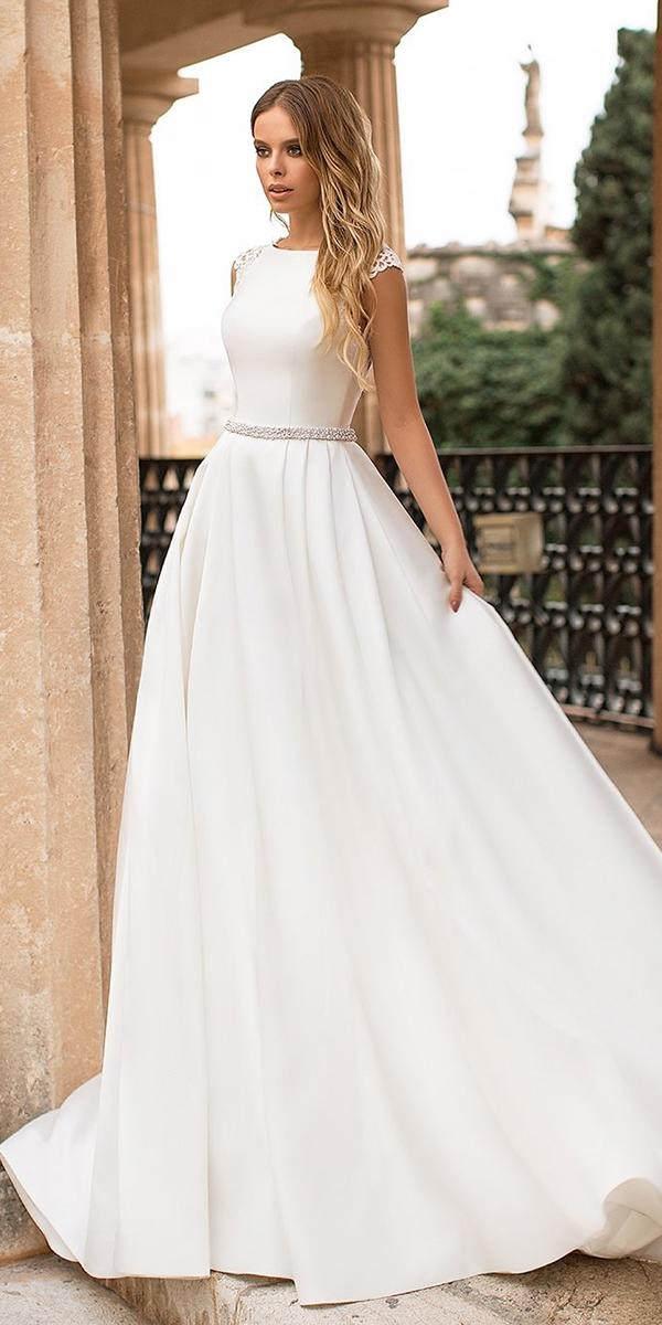 modest wedding dresses simple with cap sleeves navibluebridal