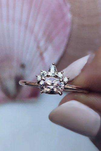 morganite engagement rings oval cut unique rose gold