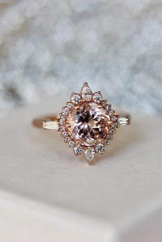 morganite engagement rings round cut halo rose gold
