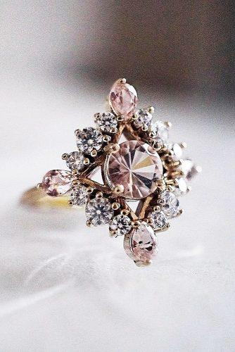 morganite engagement rings round cut unique modern gold