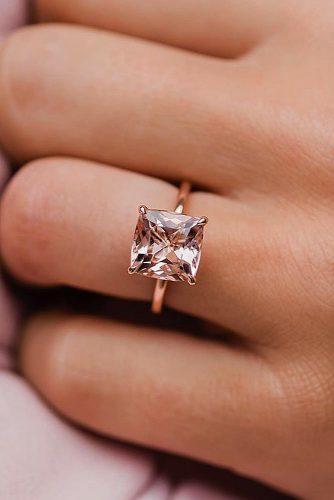 morganite engagement rings solitaire simple cushion cut