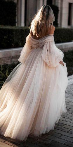 off the shoulder wedding dresses simple ball gown with blow sleeves blush talli photo