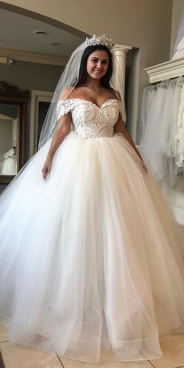 plus size wedding dresses ball gown off the shoulder lace top tulle skirt katerina bocci