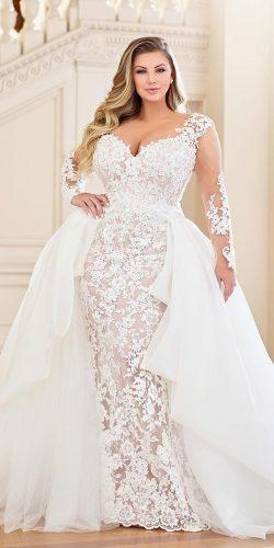 691772cb8e4 plus size wedding dresses sheath with illusion long sleeves lace overskirt  martin thornburg