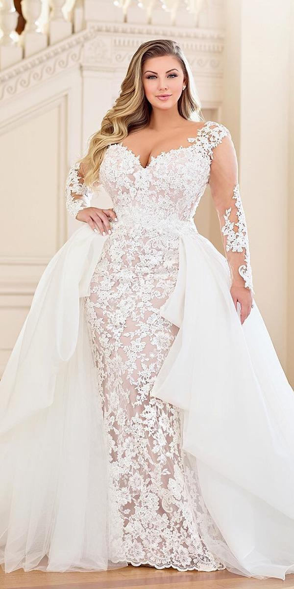 plus size wedding dresses sheath with illusion long sleeves lace overskirt martin thornburg
