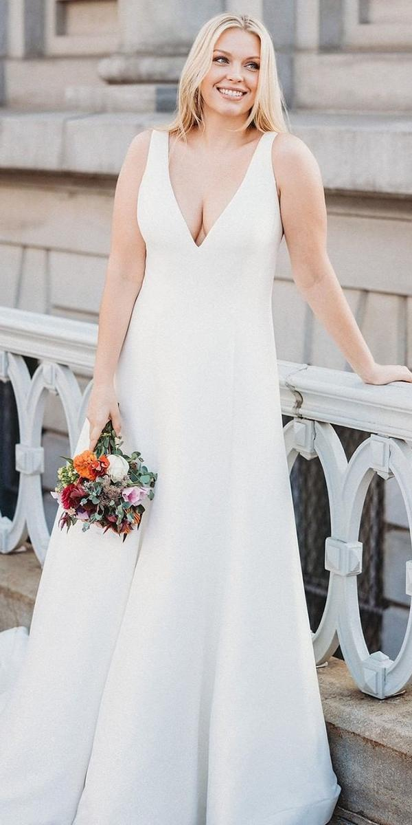 plus size wedding dresses simple a line v neckline sleveless allurebridals