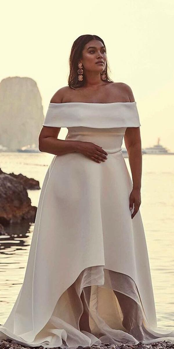 plus size wedding dresses simple high low off the shoulder chosen by one day