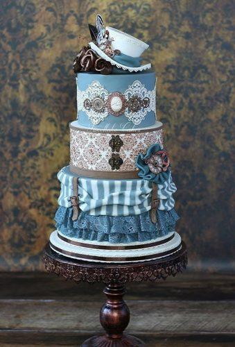 steampunk wedding decorations blue cake sweetlakecakes